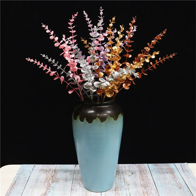"10P Fake Single Stem Eucalyptus 28.35"" Length Simulation Spray Color Eucalyptuses for Home Wedding Decorative Artificial Plants(China)"