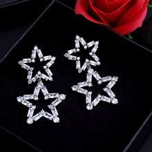 GODK 58mm Luxury Star Cubic Zirconia Engagement Wedding Women Dress Earring Fashion Jewelry