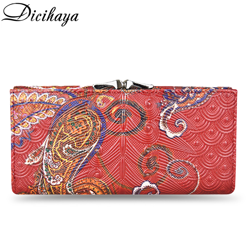 DICIHAYA Genuine Leather Women Wallet 3D Embossing Wallets Female Dollar Price Long Women Wallets And Purses Hasp Clutch Wallet