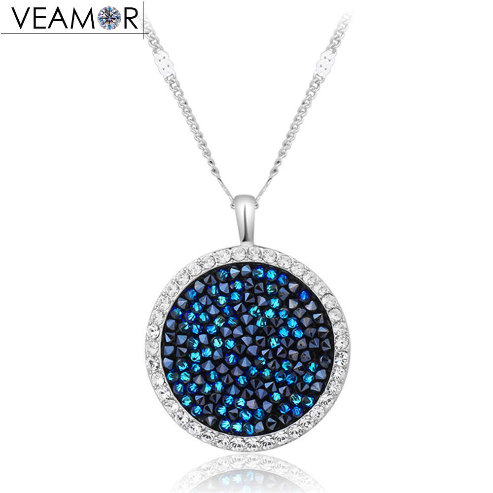 Veamor Maxi Round Crystal Necklace Pendant For Women Party Copper Beads Chain Necklaces Fashion Jewelry Crystals From Austria equte spew20c1 austria crystal merry go round pendant sweater chain necklace white golden 31