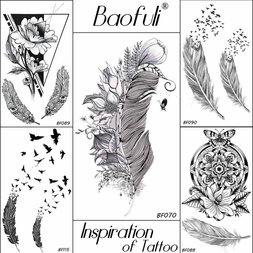Women Black Temporary Tattoo Lifelike Flowers Leaf Feather Waterproof Tatoos Body Art Henna Disposable Fake Arm Tattoo Stickers