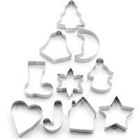 10 Pcs Bakeware Mould Christmas Cookies Cutter Biscuit Mould Set Sugar Arts Fondant Cake Decoration Tools