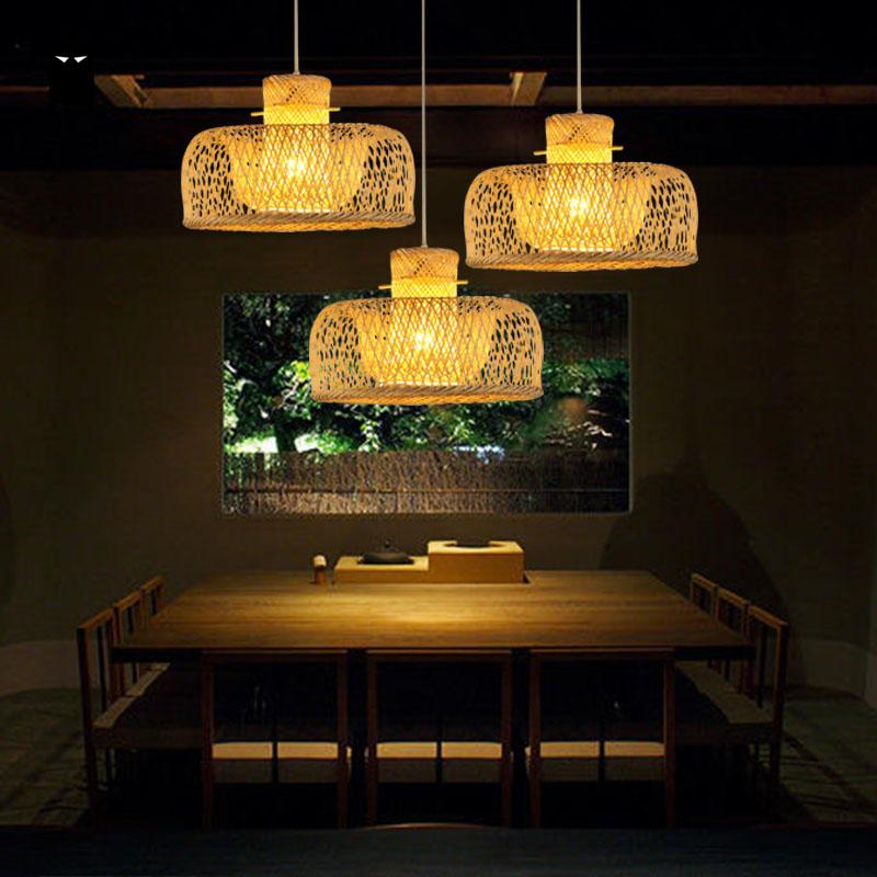 Bamboo Wicker Rattan Miss Hat Shade Pendant Light Fixture Japanese Asian Rustic Vintage Hanging Ceiling Lamp Plafon Lustre Avize bamboo wicker rattan bugle shade pendant light fixture rustic vintage hanging lamp design bar study room kitchen balcony hallway