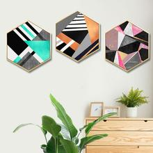Nordic living room decorative painting Geometric abstract Bedroom sofa background wall restaurant modern mural framed