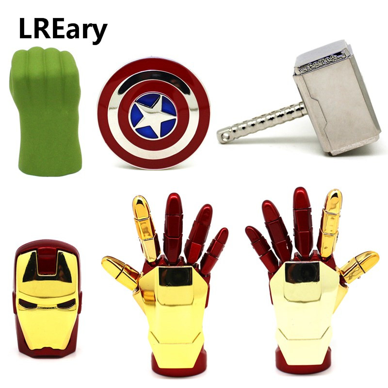 Hot Sale Metal USB Flash Drive The Avengers Pen Drive 4G 8G 16G 32G Iron Man Hand/Shield/Hammer/Hulk Pendrive 64GB Memory Stick