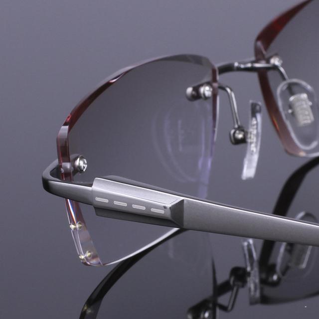 Мода Марка Оправы Titanium Очки Без Оправы Кадров с Бриллиантом Близорукие Óculos Де Грау RS-817 3 Цвет Черный Золотой Серый