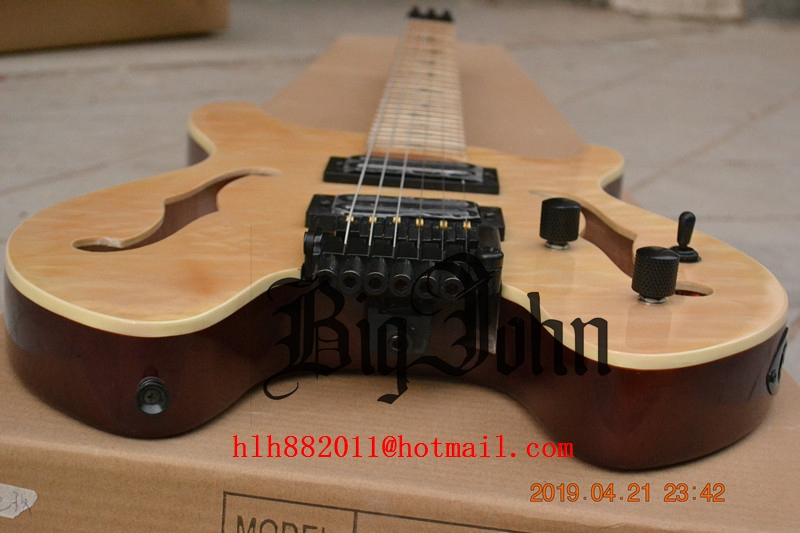 100% Quality New Headless Electric Guitar, Maple Fingerboard Mahogany Body Free Shipping Fan Fretted F Hole Guitar 174