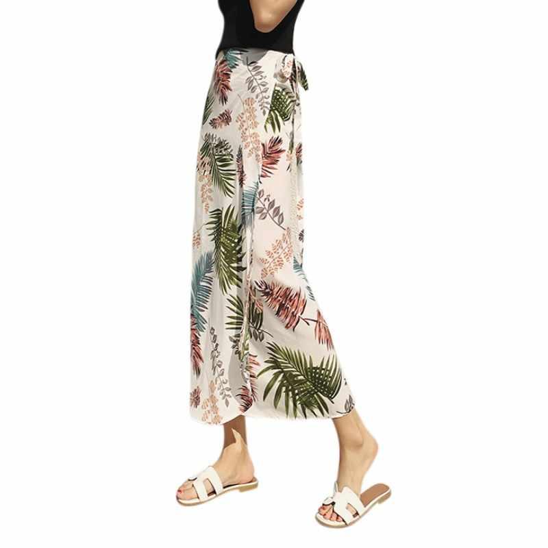 658b4018f54b New Slim Chiffon Skirts 2018 Summer Bohemia Lace Up Print Floral Skirt  Holiday Beach Women Casual