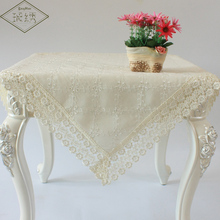 Newest Design Pure Cotton Cloth Embroidered Tablecloth With Wide Lace Trim
