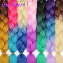 LISI HAIR 24 inch 88 species Synthetic Kanekalon Fiber long braids 100g/piece Ombre color Jumbo Braid Hair Extensions(China)