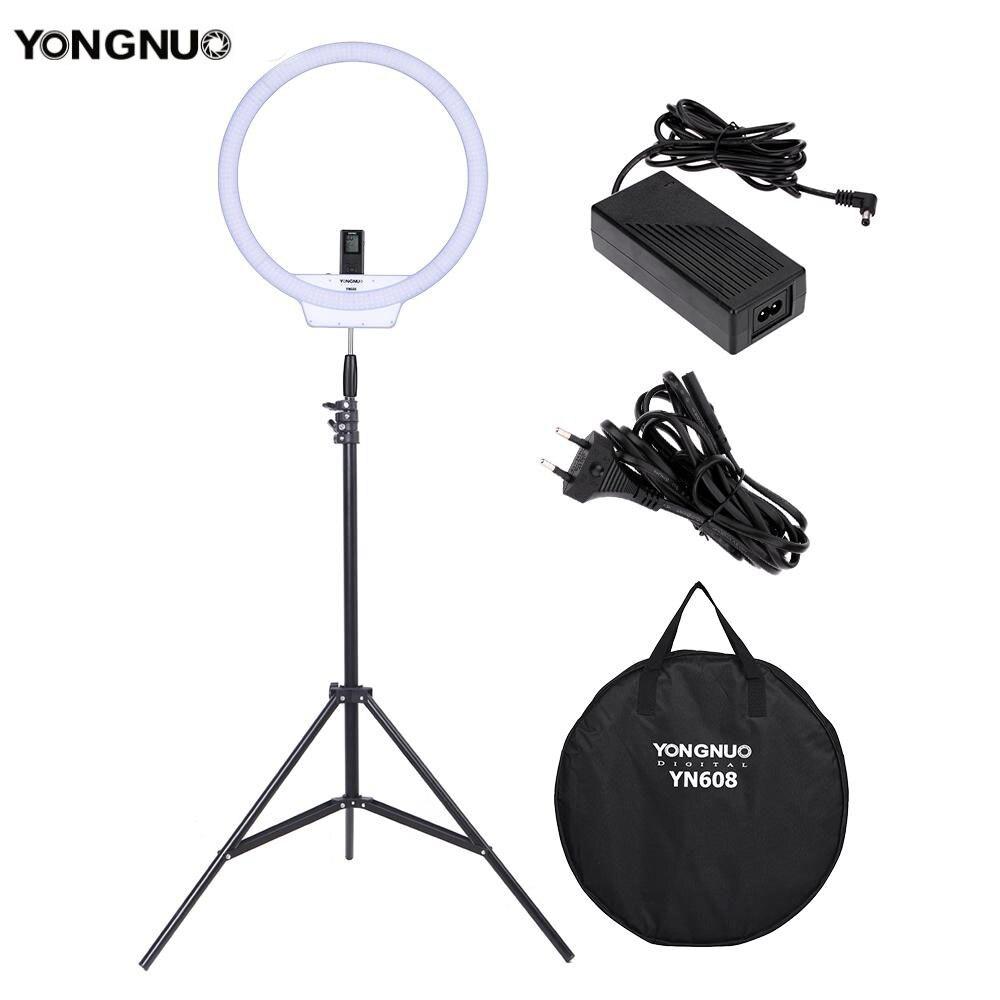bilder für YONGNUO YN608 Ring Led-ringlicht 3200 Karat ~ 5500 Karat Bi-Farbtemperatur Foto Lampe mit 2 mt licht Stehen und Netzteil