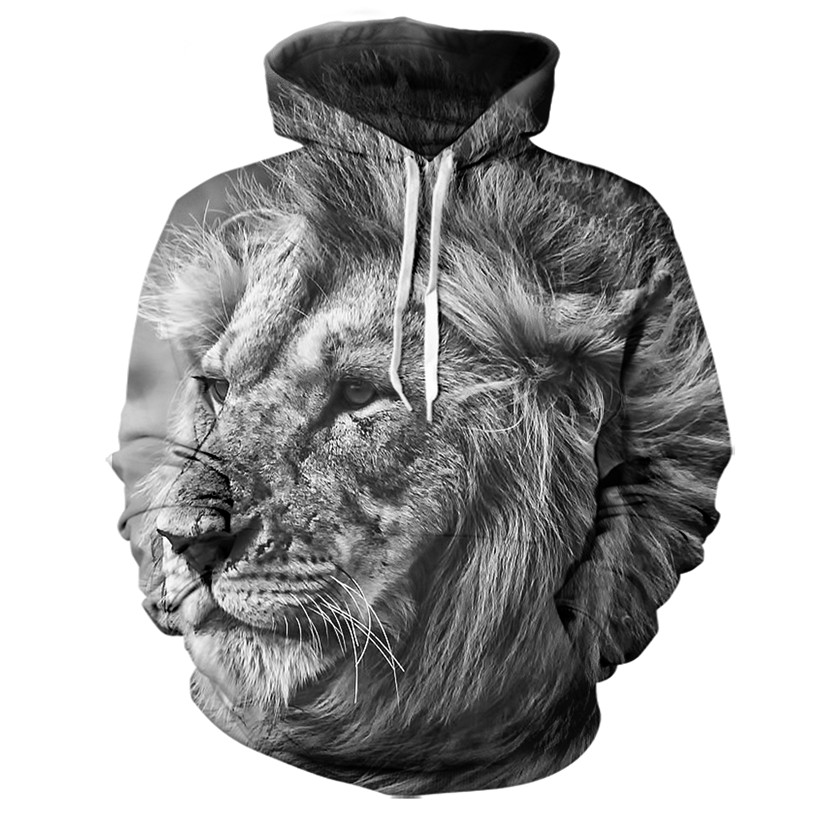 2 Styles Real American size lion 3D Sublimation Print OEM Hoody/Hoodie Custom made Clothing plus size