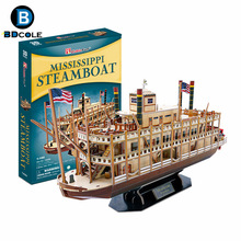 142pcs BDCOLE Mississippi Steamboat 3D Paper Boat Model Kits Toy Wooden Ship Assembly Kit Children's Day Gift