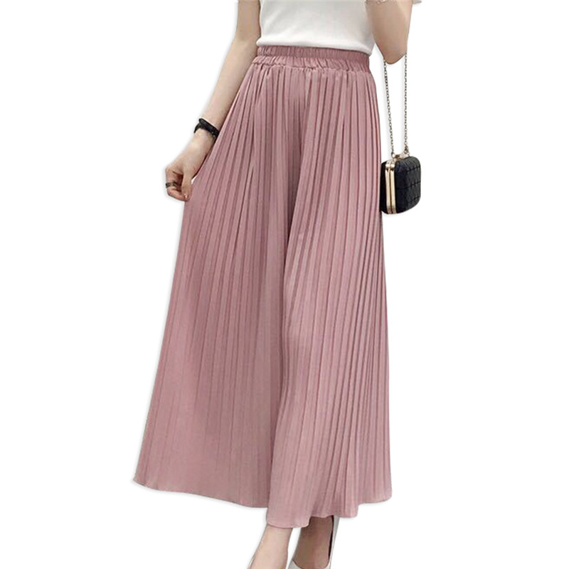 2020 Summer New Wide Leg Pants Women's Casual Loose Chiffon Pleated Skirt Pants Russian Hot Fashion Streetwear Pants For Girls