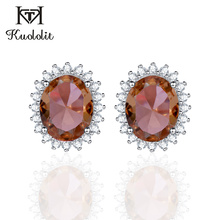 Kuololit Zultanite Gemstone Stud Earrings for Women Solid 925 Sterling Silver Created Color Change Diaspore Soda Stone Earrings