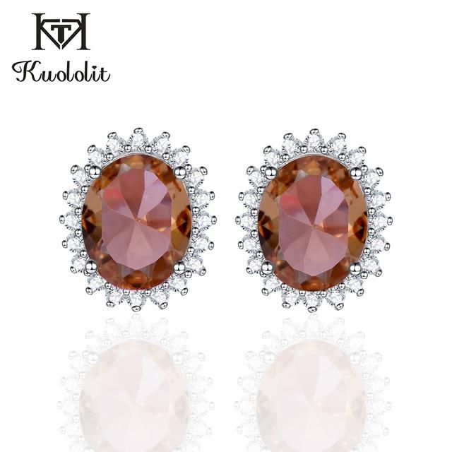 Kuololit zultanite宝石用原石のイヤリング固体925スターリングシルバー作成色変更diasporeソーダ石イヤリング