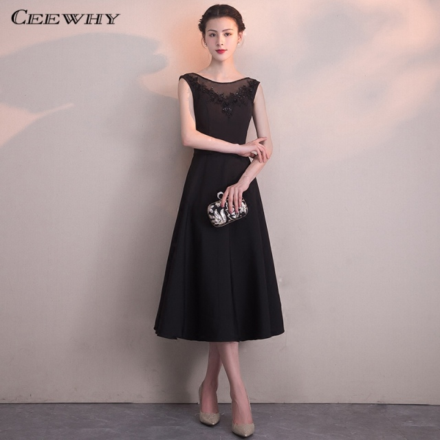 a5585630f CEEWHY Black Evening Gown Embroidered Short Evening Dresses Beaded Special  Occasion Dress Party Elegant Vestidos Largos