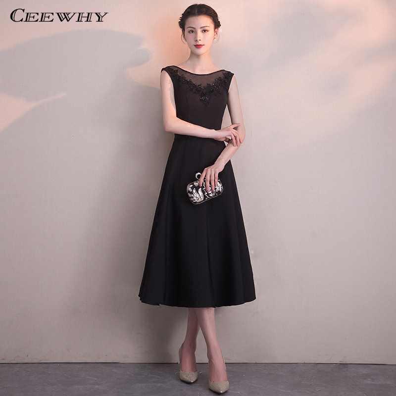 ad40b6fac15af29 CEEWHY Черное вечернее платье Вышитые Короткие вечерние платья из бисера  специальные Нарядное платье вечерние элегантные Vestidos