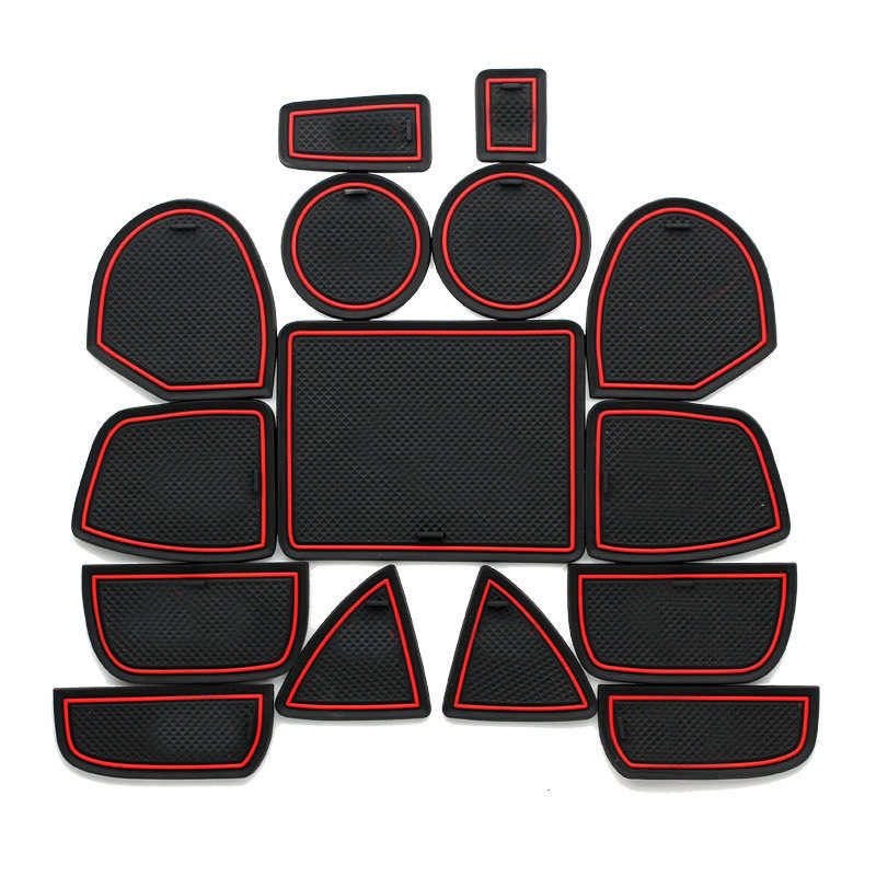15Pcs Lot Car Interior Upholstery For Jeep Grand Cherokee Rubber Mat Car Accessories Non-Slip Mat Auto Accessories Interior ...