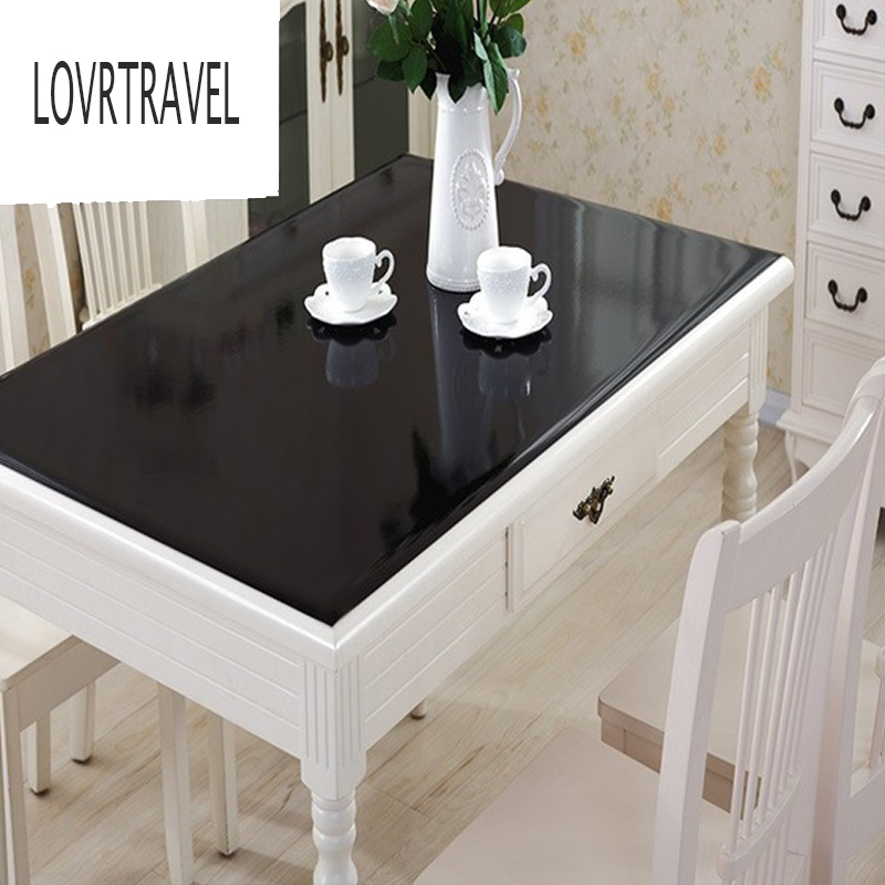 Black PVC Tablecloth  D' waterproof Soft Glass Tablecloth Solid Color Waterproof Oil 1.0mm matte Home Decoration Table Cloth2019|Tablecloths| |  - title=