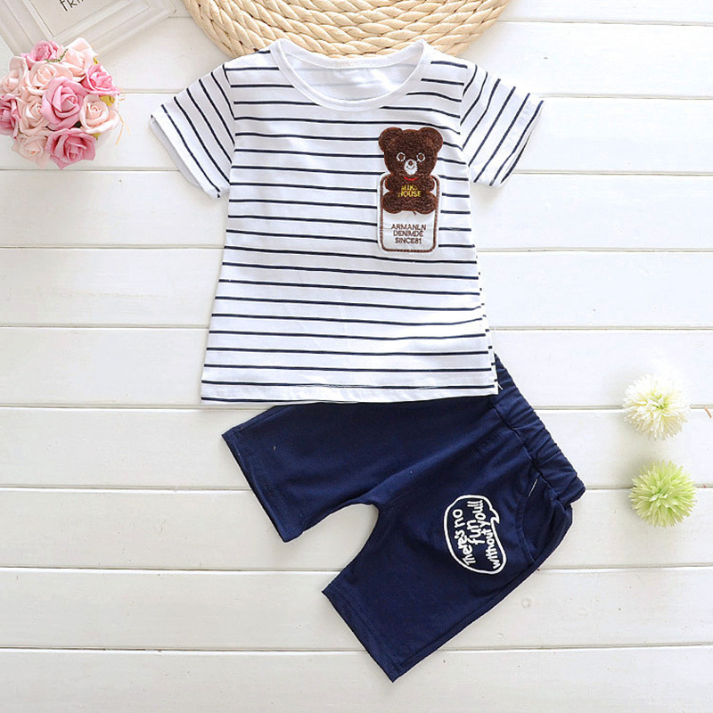 2017 New Baby Boys Clothing Set Summer Cartoon Bear Baby T-shirt+Shorts For Boy 2Pcs Infant Stripe Elastic Suit Kids Clothes