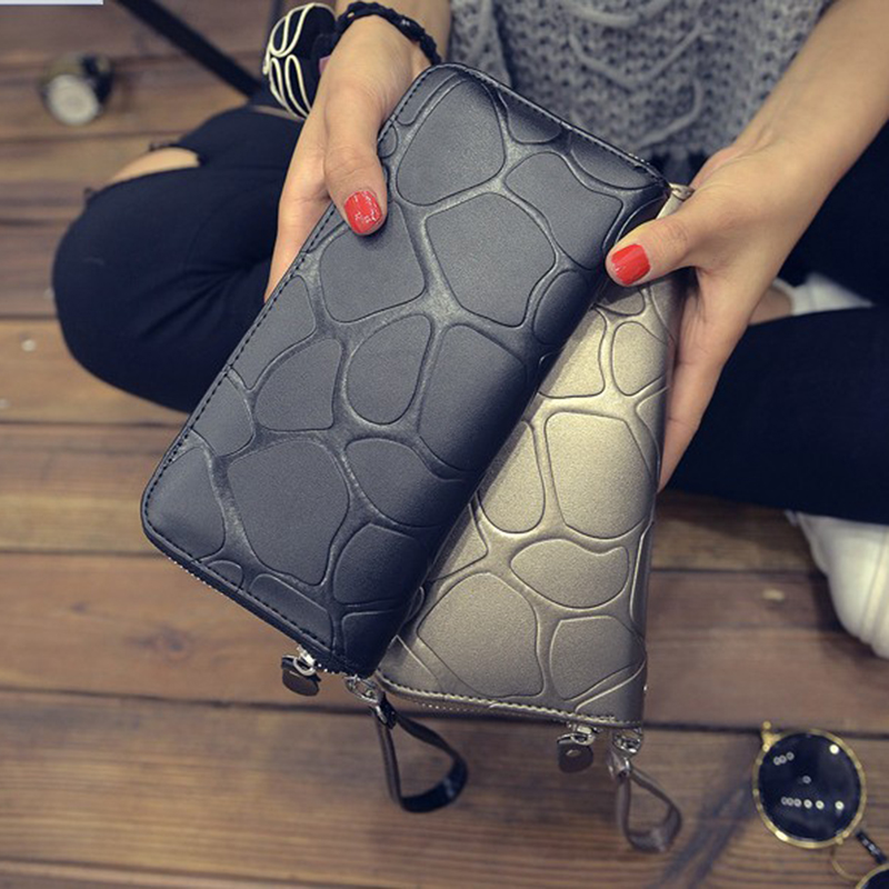JOYPESSIE Solid Color Wallet Card Holder Coin Purse Pockets Girls Clutch Hot Women Wallets Stone Fashion Women Wallets
