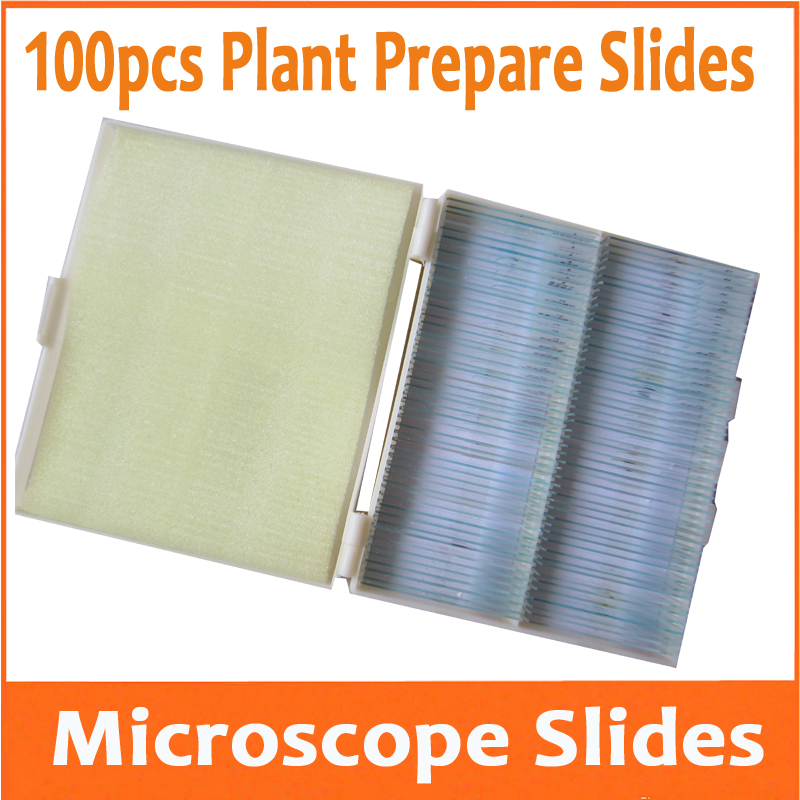 100pcs per Box Plant Optical Glass Lab Biological Microscope Specimen Bio-microscope Slides for Student Educational School professional student biological microscope up and down leds microscope metal structure optical glass lenses wide angle eyepiece
