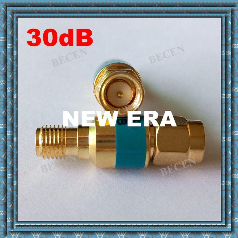 Free Shipping  2W SMA male to SMA female Coaxial Attenuator 2W DC 6.0GHz ,30dB n male to n female attenuator dc 3ghz 50w watt 30db coaxial power with heat sink attenuator free shipping