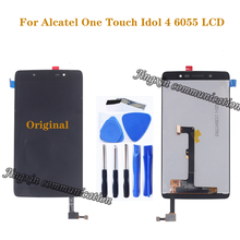 Original display for Alcatel One Touch Idol 4 LTE OT6055 6055P 6055Y 6055B 6055K 6055 LCD touch screen digitizer repair parts for alcatel one touch idol 2 mini 6016 ot6016 lcd display touch digitizer assembly frame white by free shipping