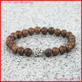 1PC Handmade Mens Wood Beads Bracelet Elastic Rope Buddha Heads Bracelet Bangles For Men And Women, Trendy Jewelry Gift