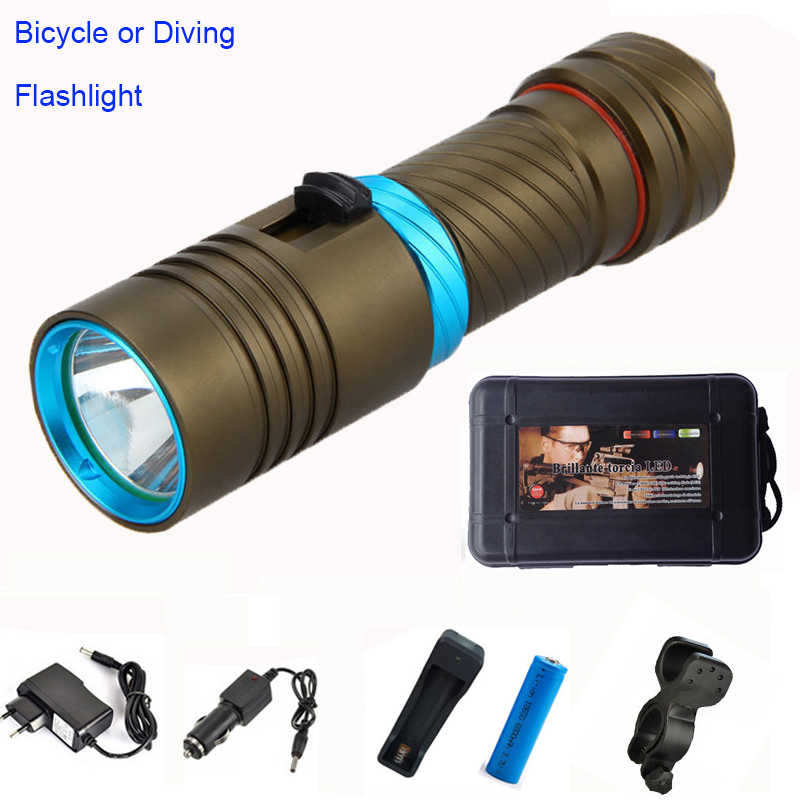 8000Lm CREE XML L2 Bicycle light Waterproof  Underwater 100m LED Flashlight Diving bike light Torch for 18650 or 26650 battery купить