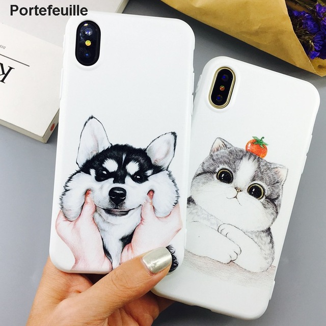 new arrival 50814 31627 US $3.23 34% OFF|Portefeuille For iPhone X Case Cute Husky Dog Cat Cartoon  Patterned Slim Silicone Case Cover For iPhone 10 8 Plus 7 6 S 6S Coque-in  ...