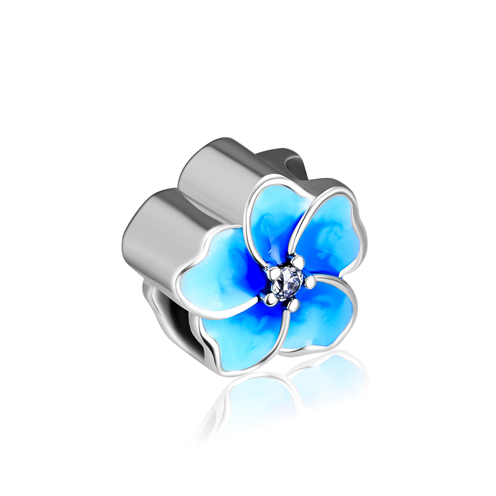 CKK Beads for Jewelry Making Petals of Love Pule Blue Enamel Charms Silver 925 Original Fits Pandora Bracelet kralen abalorios in Beads from Jewelry Accessories