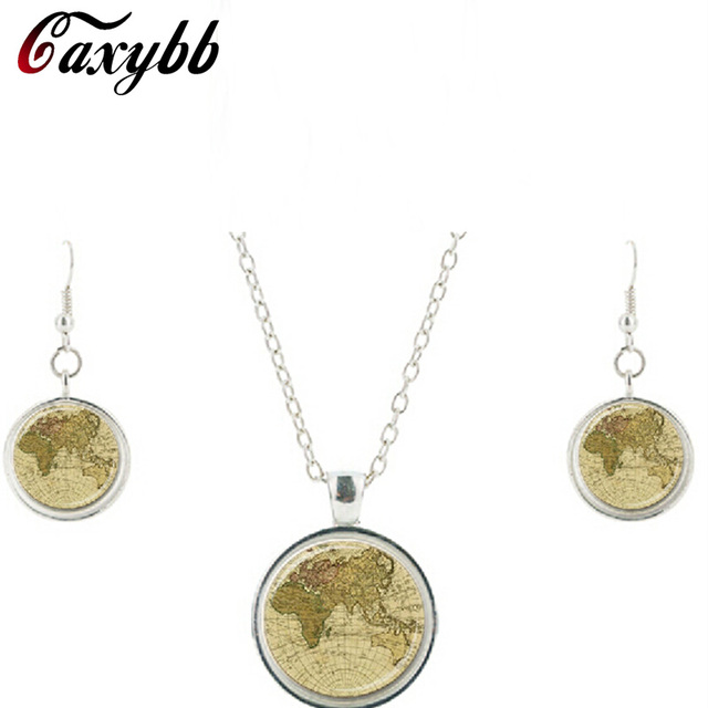 New world map pendant necklace earring charms planet round dome old new world map pendant necklace earring charms planet round dome old necklaces vintage pendants jewelry set gumiabroncs Gallery