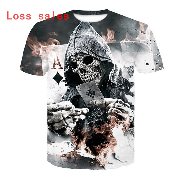 2018 Hot sale New Mens Summer Skull Poker Printing Men Short Sleeve T-shirt 3D T Shirt Casual T-shirt Plus Size T-shirt