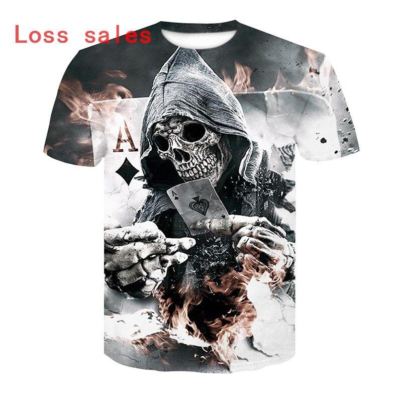 2018 heißer verkauf Neue Herren Sommer Schädel Poker Druck Männer Kurzarm T-shirt 3D T-shirt Casual T-shirt Plus Größe t-shirt