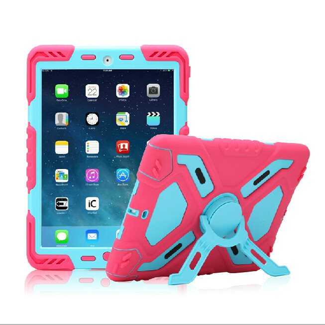 Brand Hybrid Armor Waterproof Shockproof Dustproof Kids Safe Stand Case Cover For ipad mini 1/2/3 Retina ipad 2 3 4 Air Shell for amazon 2017 new kindle fire hd 8 armor shockproof hybrid heavy duty protective stand cover case for kindle fire hd8 2017