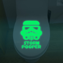 Free Shipping Glow In The Dark Wall Decals Noctilucous Toilet Stickers Storm Pooper Eco-friendly Stickers For Shops Kid`s Room(China)