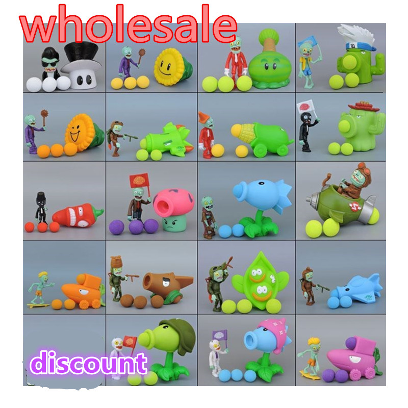28pcs New Game PVZ Plants vs Zombies Peashooter PVC Action Figure Model Toys anime figurine pea sunflower Melon 10CM(China)