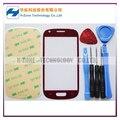 Бесплатная Доставка Красный Переднее Стекло Крышка Сенсорного Экрана Стекло Для Samsung Galaxy Galaxy S3 Mini I8190 Замена Инструменты/Клей
