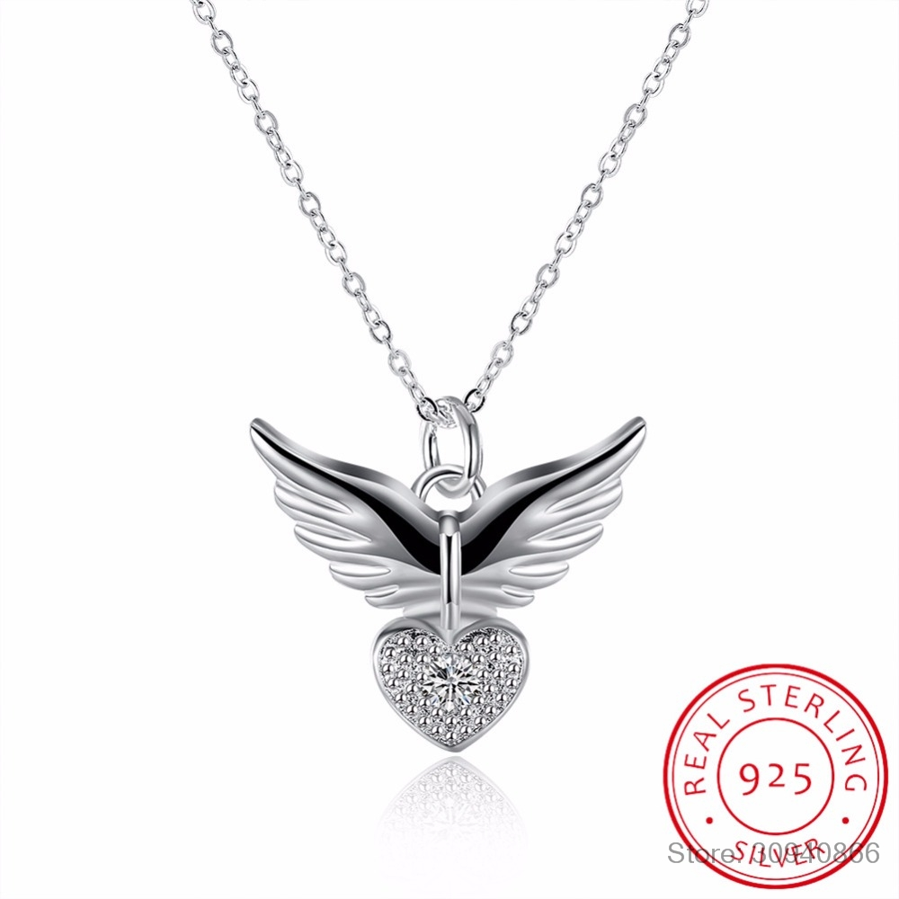 2019 New 925 Sterling Silver Necklace Heart & Angel Wings Pendant Necklace Simple Chain Fashion Necklace Jewelry
