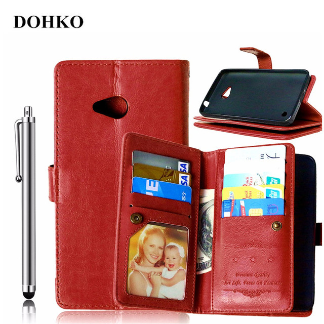 DOHKO Luxury Leather Wallet Case, Slim Back Cover Case with Stand Function & Card Holder for Microsoft Lumia 640 + Stylus Pen
