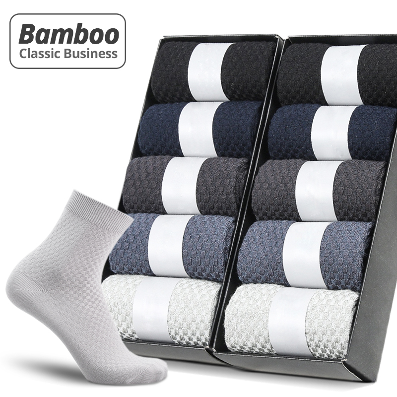 HSS Brand 10 Pairs/Lot Men Bamboo Fiber Socks New Classic Business Long Socks Mens Dress Sock For Winter Gift Plus Size EUR39-45