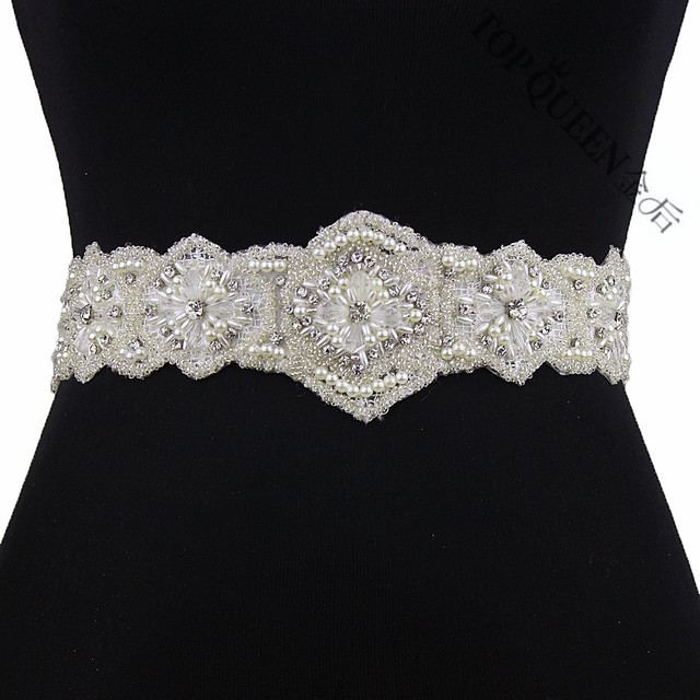 TOPQUEEN women's S220 Rhinestones Pearls Wedding evening dress sash Belts Bridal bride Belt Sashes for the party