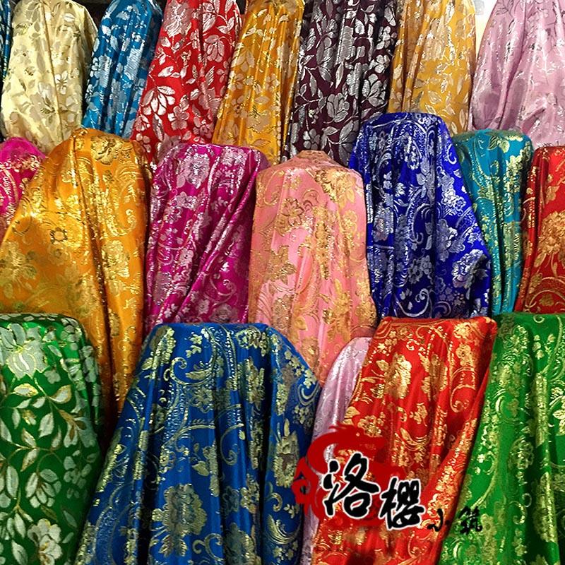 Vævet guld klud cheongsam kostume kimono avanceret cos tøj Metallic Damask Fabric Wide 1.5 meter