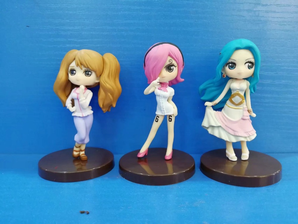 Cute 3pcs 3 One Piece Anime Childhood Reiju Vivi Pudding 7cm PVC Action Figure Model Doll Toys Gift