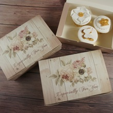 Retro 21*14*5cm 10pcs wood flower Paper Box Macaron Chocolate cookie wedding favor Christmas Birthday Party Gift Packaging