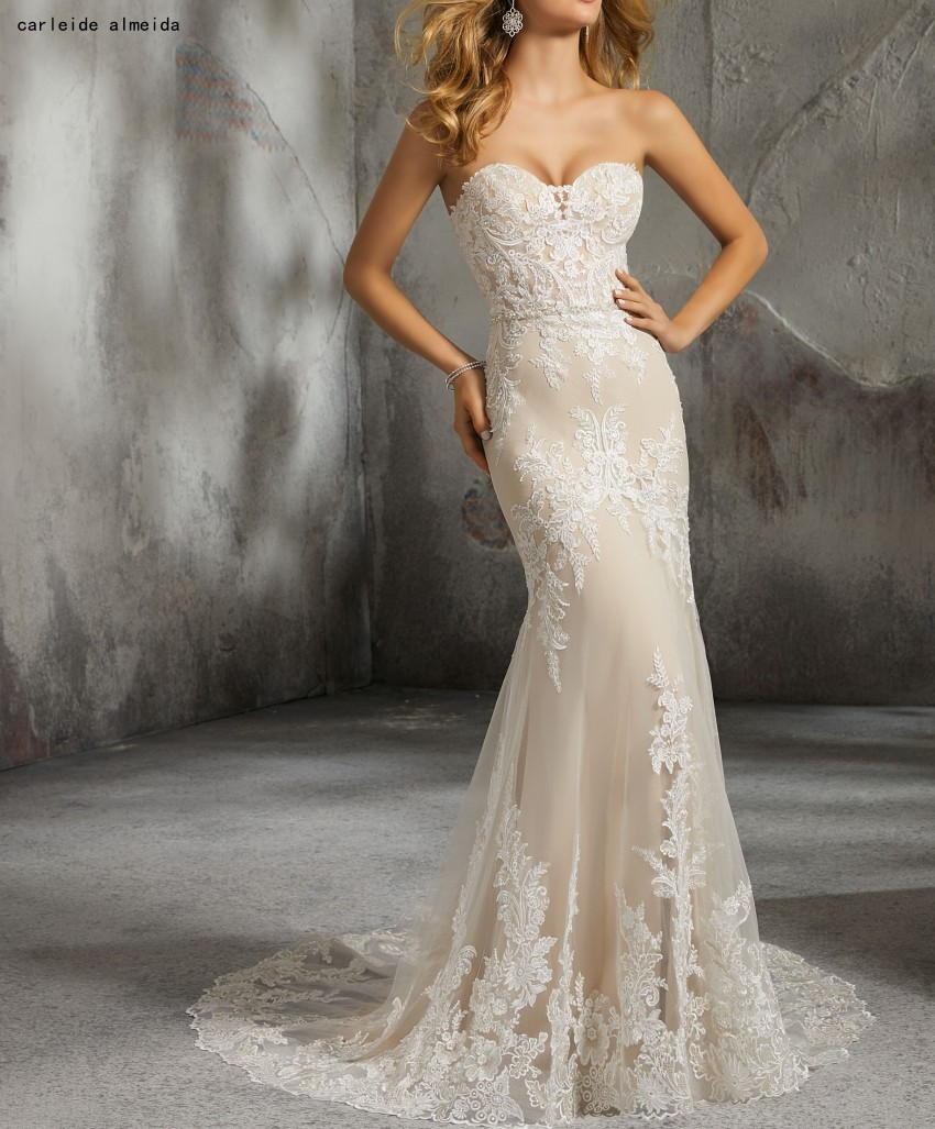 Sweetheart Ivory Champagne Mermaid Wedding Dresses with Unique Lace Appliques Bridal Dress 2019