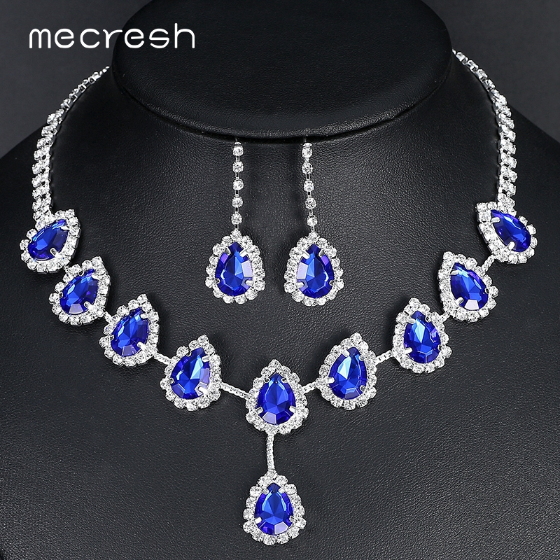 Mecresh Blue Teardrop Afrikaanse kralen sieraden set Crystal Wedding Bridal sieraden sets voor vrouwen Rhinestone Necklace Set Gift TL018