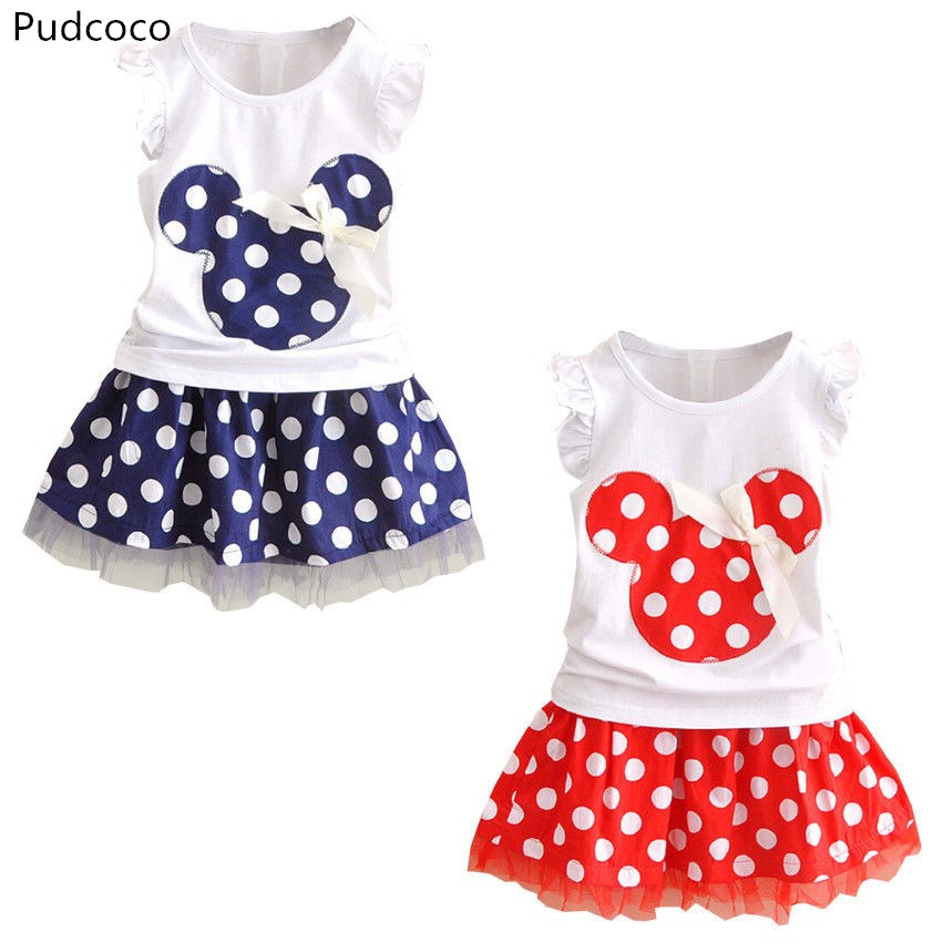 Toddler Girls Baby Kids Cartoon Top Shirt Dress Summer Outfits Clothes